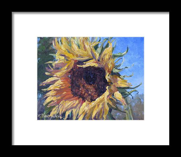 Sunflower Landscape Framed Print featuring the painting Good Mornin by L Diane Johnson