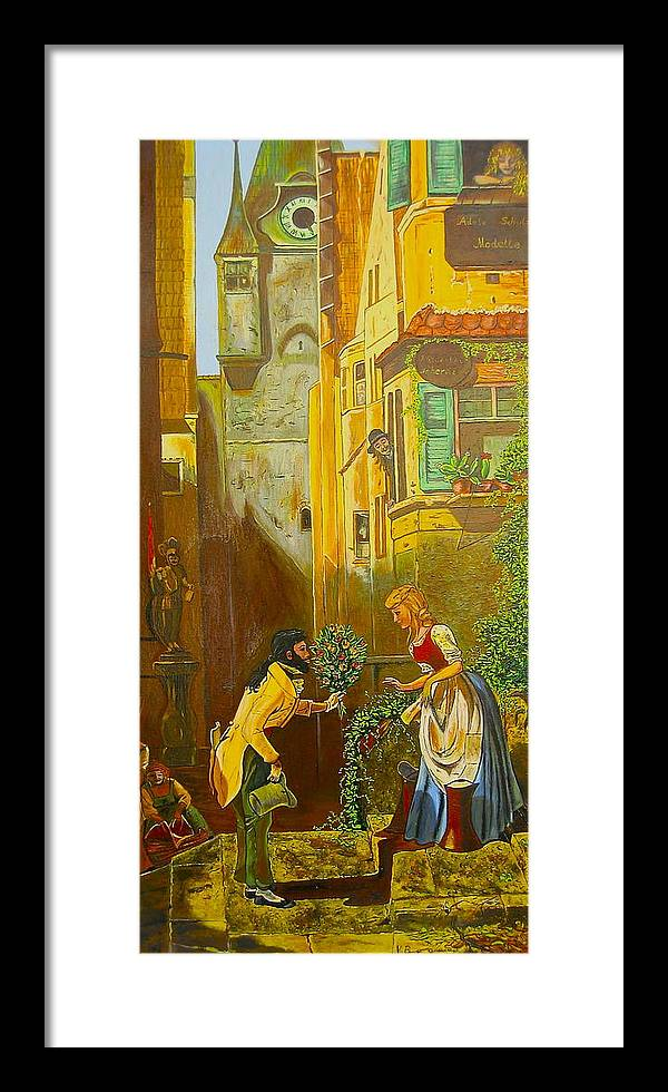 1700's European Village Framed Print featuring the painting Good Morning Dear by V Boge