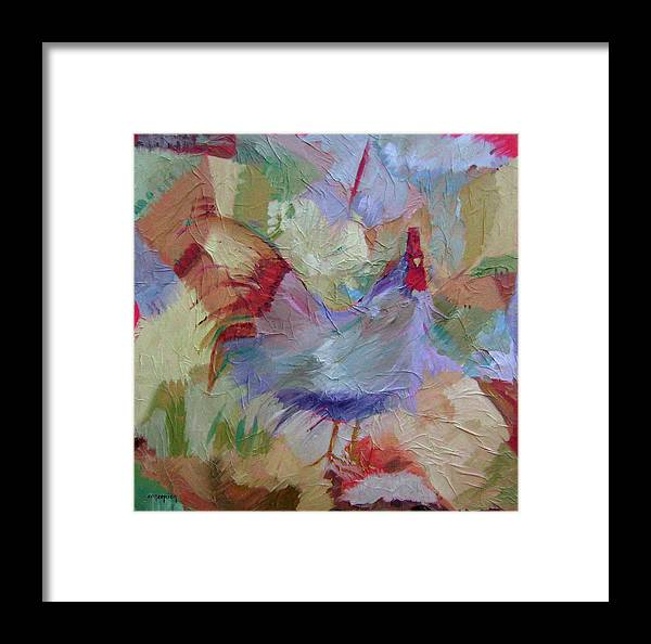 Chicken Paintings Framed Print featuring the painting Good Morning by Ginger Concepcion