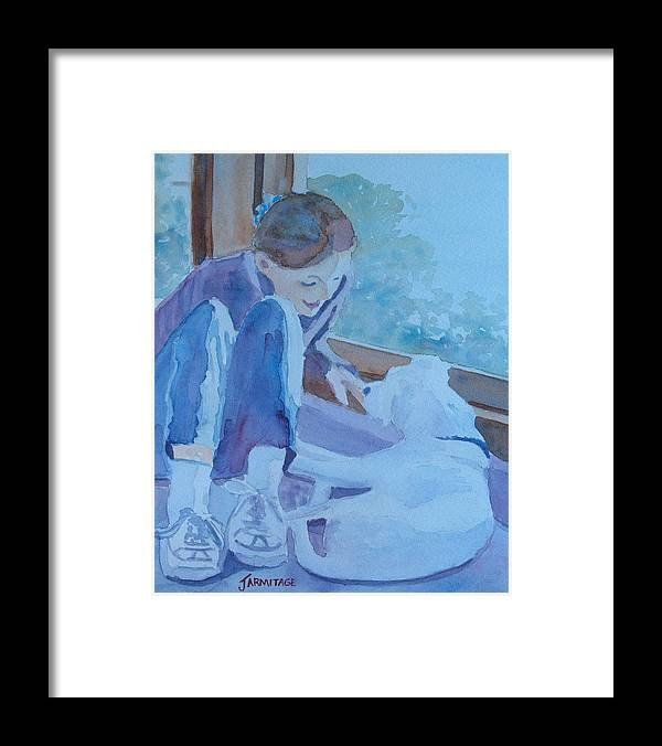Girl Framed Print featuring the painting Good Morning Puppy by Jenny Armitage