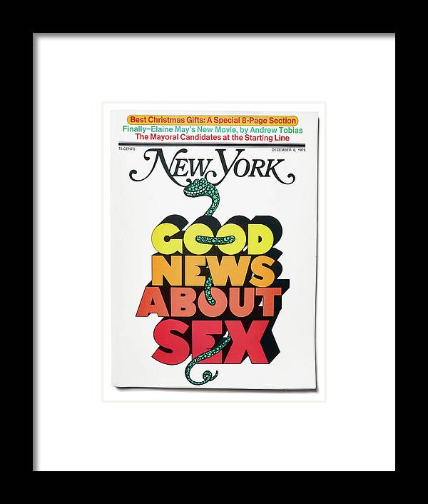 New York Magazine Framed Print featuring the mixed media Good News About Sex by Milton Glaser
