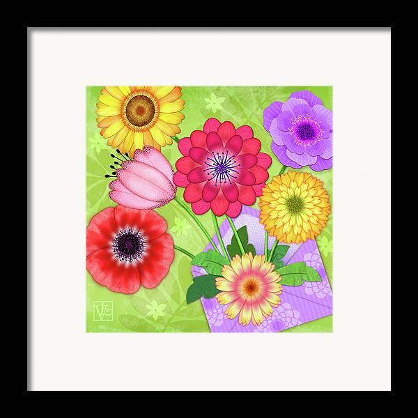 Flowers Framed Print featuring the digital art Good News by Valerie Drake Lesiak