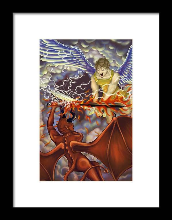Digital Framed Print featuring the painting Good Vs Evil by Tom Wrenn