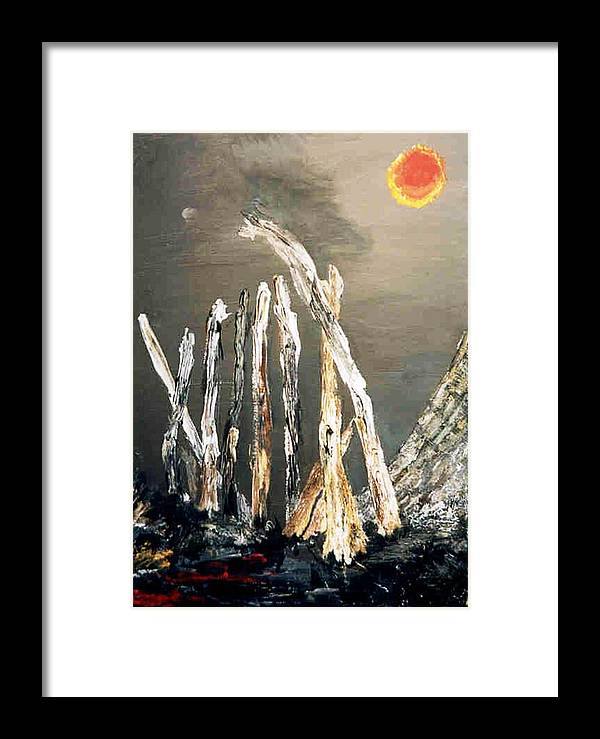 Red Sun Framed Print featuring the painting Goodnight Moon by Bruce Combs - REACH BEYOND