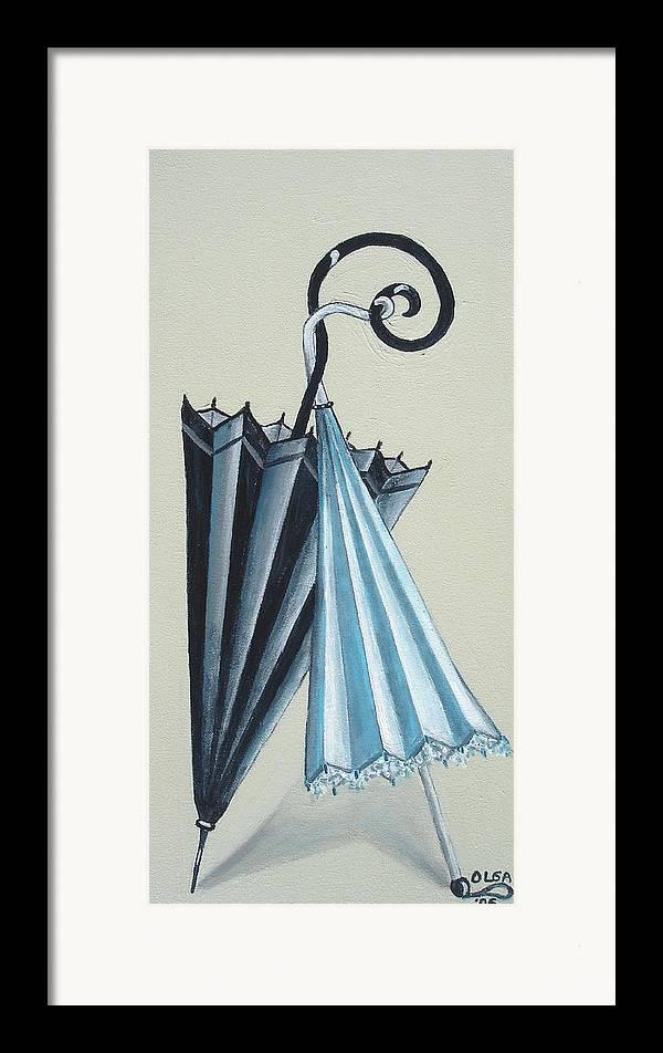 Umbrellas Framed Print featuring the painting Goog Morning by Olga Alexeeva