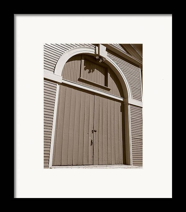 Waltham Framed Print featuring the photograph Gore Barn Door by Heather Weikel