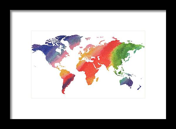 Gorgeous Rainbow World Map Framed Print By Irina Sztukowski