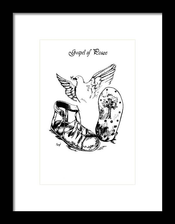 Armor Framed Print featuring the drawing Gospel Of Peace by Maryn Crawford
