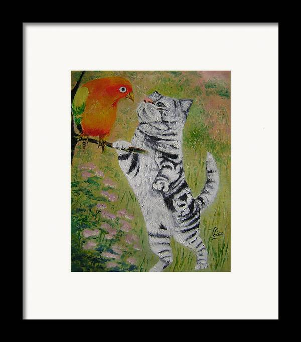Naive Framed Print featuring the painting Gossip by Lian Zhen