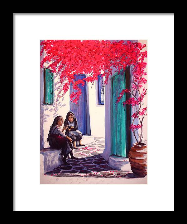 Greece Framed Print featuring the painting Gossips by Yvonne Ayoub