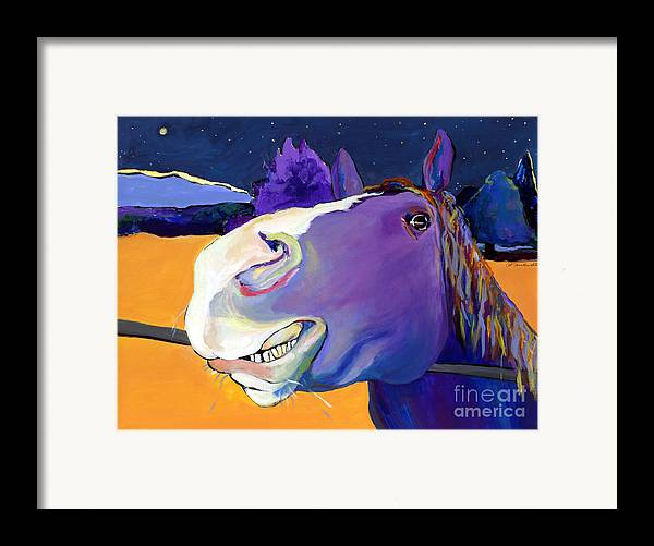 Barnyard Animal Framed Print featuring the painting Got Oats   by Pat Saunders-White