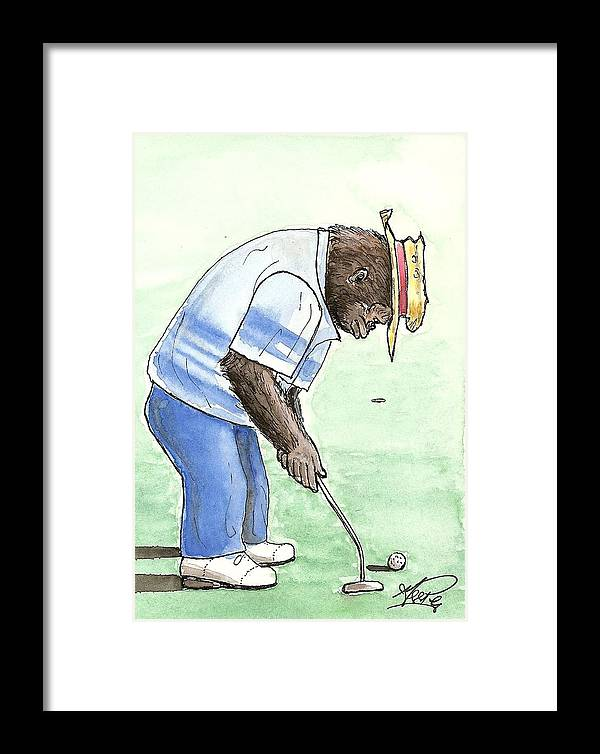 Golf Framed Print featuring the painting Got You Now by George I Perez