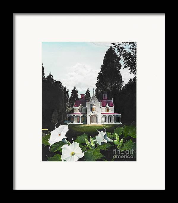 Fantasy Framed Print featuring the painting Gothic Country House Detail From Night Bridge by Melissa A Benson