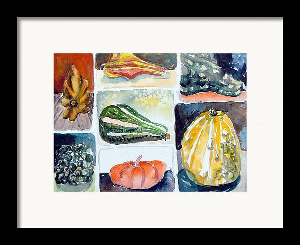 Gourd Framed Print featuring the painting Gourd Collection by Mindy Newman