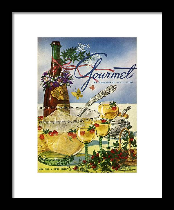 Illustration Framed Print featuring the photograph Gourmet Cover Featuring A Bowl And Glasses by Henry Stahlhut