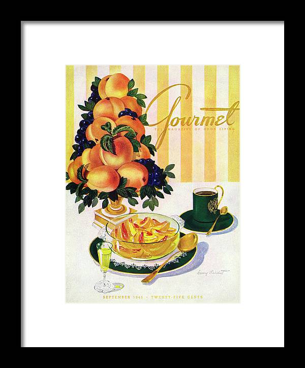 Illustration Framed Print featuring the photograph Gourmet Cover Featuring A Centerpiece Of Peaches by Henry Stahlhut