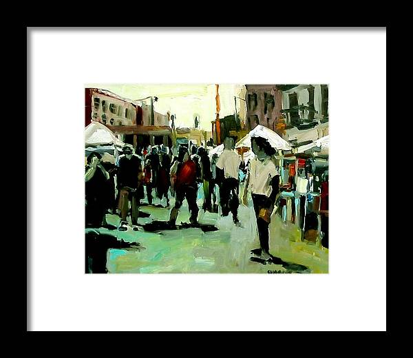 Cityscape Paintings Framed Print featuring the painting Government Street by Brian Simons