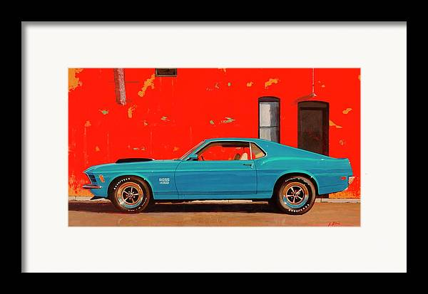 Muscle Car Framed Print featuring the painting Grabber Blue Boss by Greg Clibon
