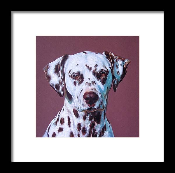 Dog Framed Print featuring the drawing Grace - Close-up Detail by Elena Kolotusha