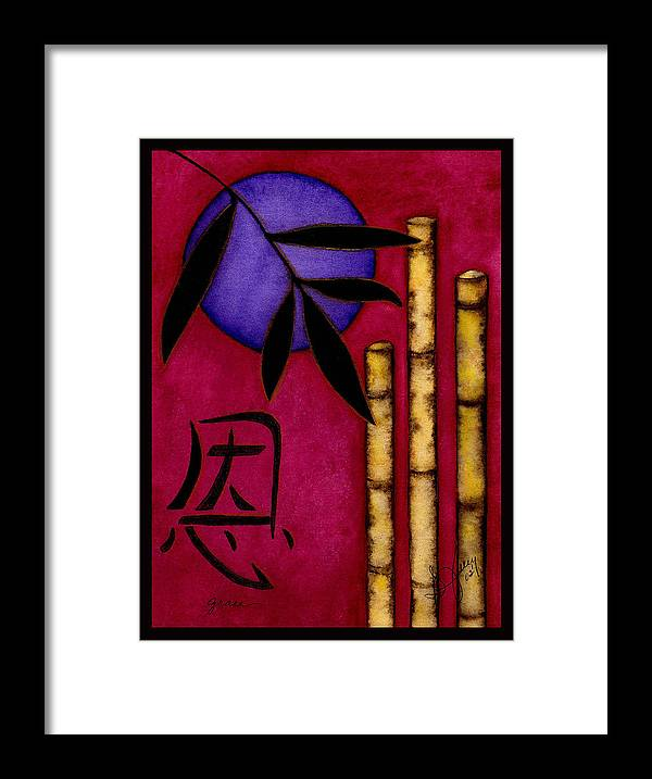 Bamboo Framed Print featuring the painting Grace - The Art of Balance by Stephanie Jolley