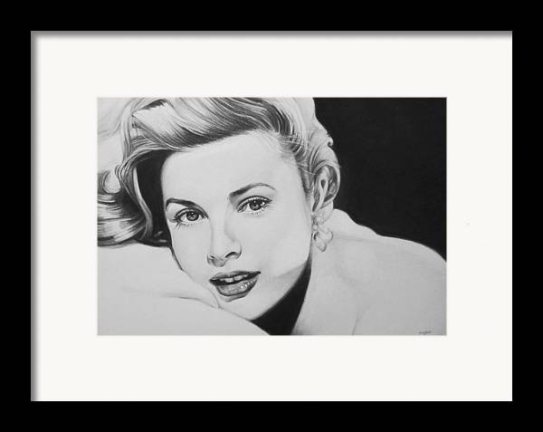 Grace Kelly Kelley Rear Window Actress Hollywood Cary Grant Charcoal Portrait Black And White Pencil Female Woman Framed Print featuring the drawing 'grace' by Steve Hunter