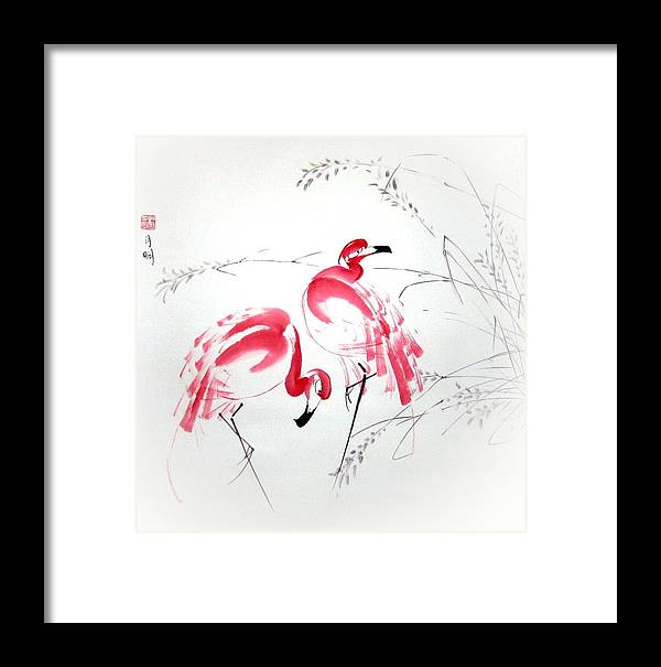 Flamingo Framed Print featuring the painting Graceful Pair by Ming Yeung