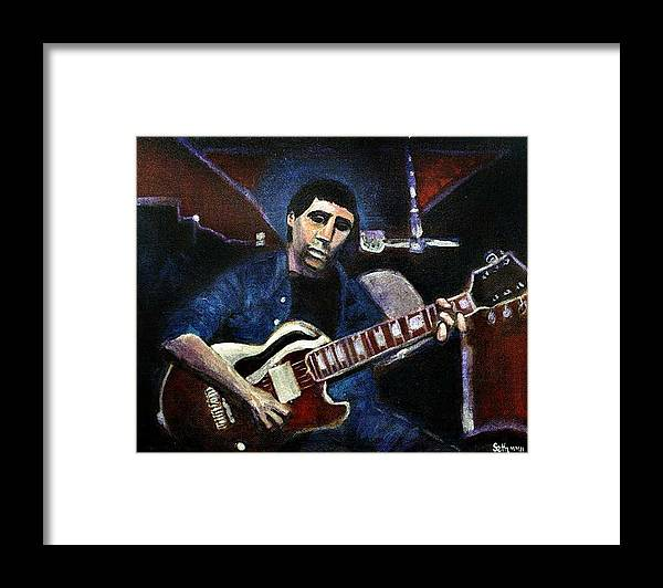 Shining Guitar Framed Print featuring the painting Graceland Tribute to Paul Simon by Seth Weaver