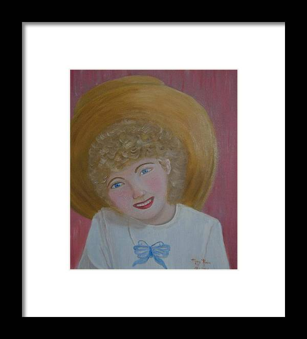 Little Girl In Her Gramma Framed Print featuring the painting Gracie In Gramma by Mary Kaser