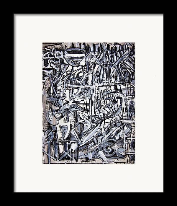 Abstract Black White Framed Print featuring the painting Grad by Dave Kwinter