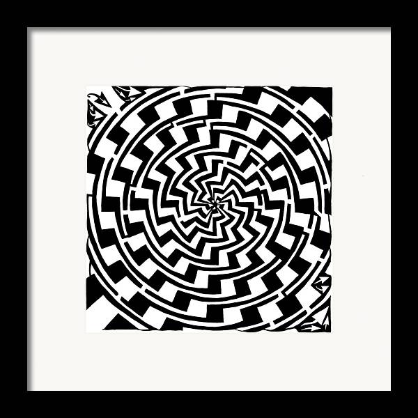 Gradient Framed Print featuring the drawing Gradient Tunnel Spin Maze by Yonatan Frimer Maze Artist