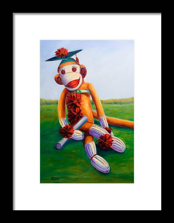 Graduation Framed Print featuring the painting Graduate Made Of Sockies by Shannon Grissom