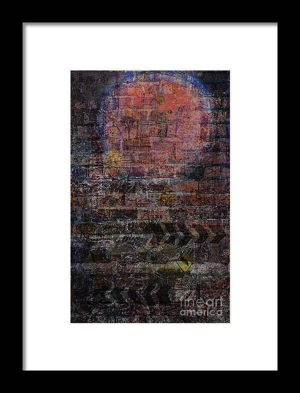 Sunset Framed Print featuring the digital art Graffiti Moon by Andy Mercer