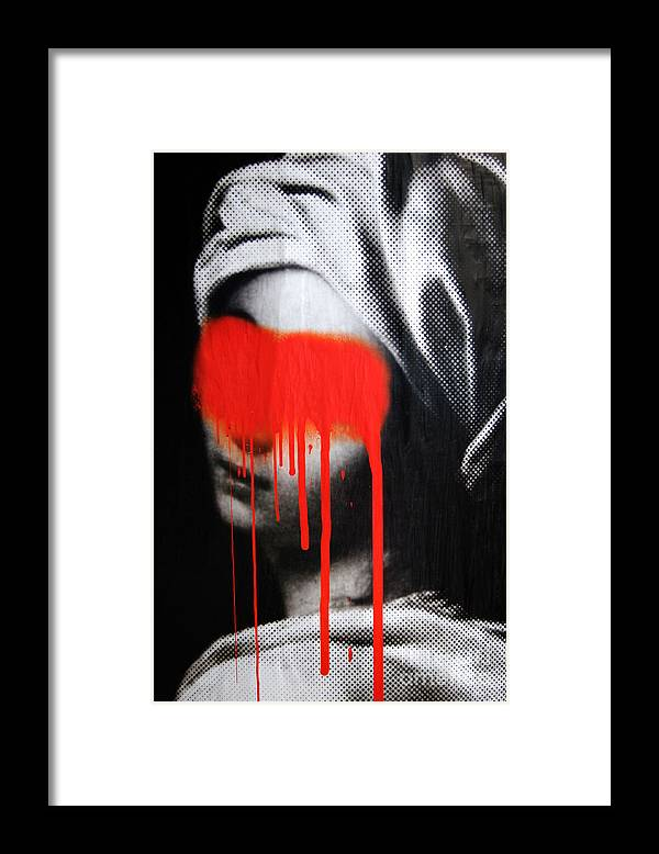 Graffiti Framed Print featuring the photograph Graffiti on a Poster Krakow Poland by Wayne Higgs