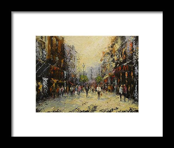 Urban Street Scene Framed Print featuring the painting Grafton St.dublin by Margaret Kent