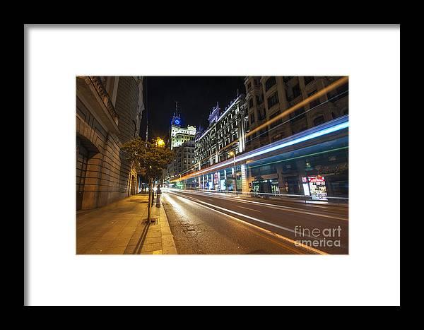 Yhun Suarez Framed Print featuring the photograph Gran Via Light Trails 1.0 by Yhun Suarez