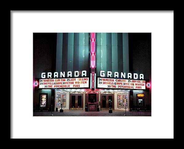 Granada Theater Framed Print featuring the photograph Granada Marquee Dallas by Rospotte Photography