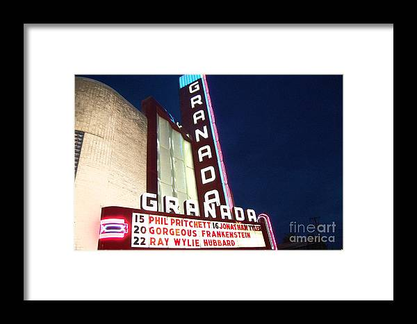 Music Framed Print featuring the photograph Granada Theater by Debbi Granruth