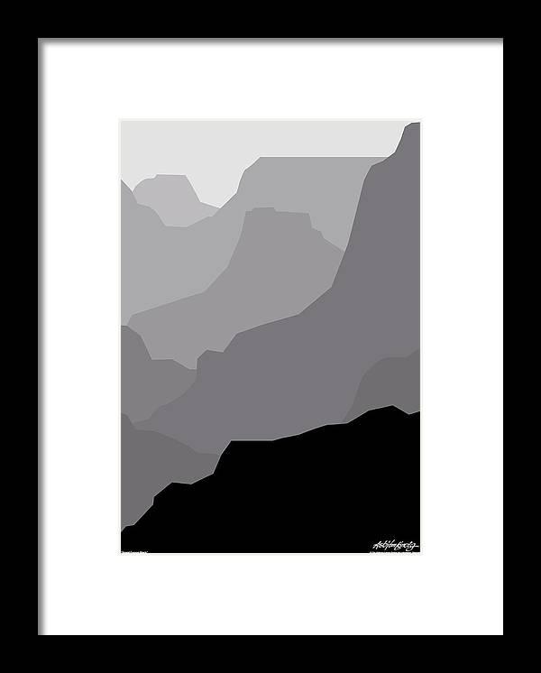 Grand Canyon Black Framed Print featuring the digital art Grand Canyon Black by Asbjorn Lonvig
