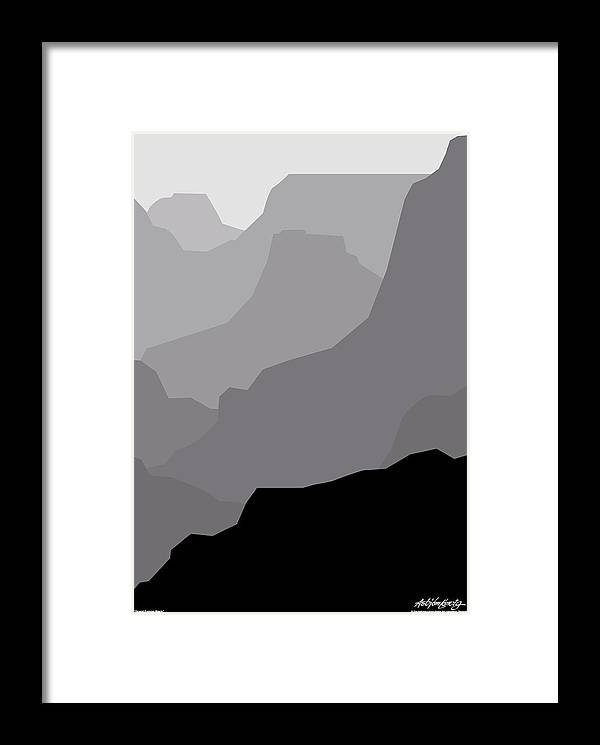 Grand Canyon Black Framed Print featuring the digital art Grand Canyon Black by Asbjorn Lonvig