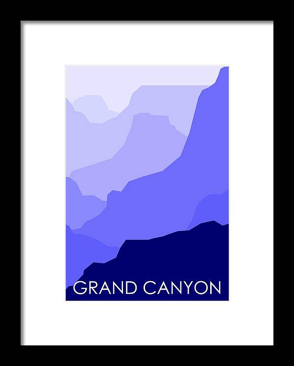 Grand Canyon Framed Print featuring the digital art Grand Canyon Blue - Text by Asbjorn Lonvig