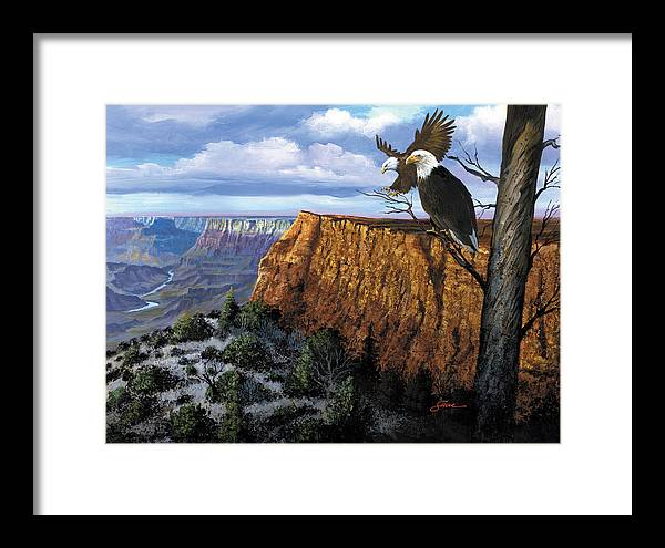 Grand Canyon Framed Print featuring the painting Grand Canyon Lookout by Harold Shull
