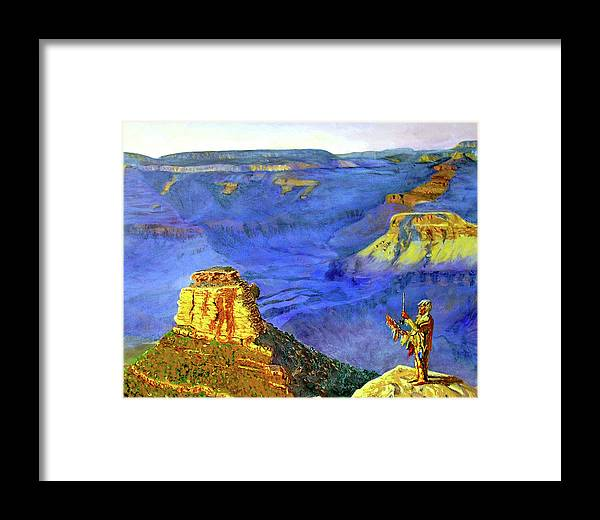Original Oil On Canvas Framed Print featuring the painting Grand Canyon V by Stan Hamilton
