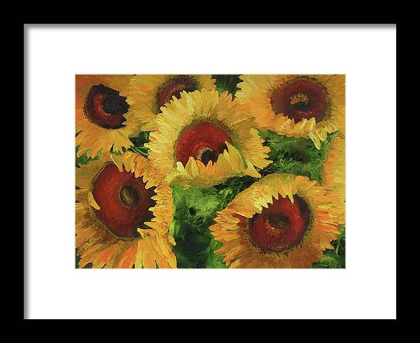 Sunflowers Framed Print featuring the painting Grand Opening by Barbara Auito