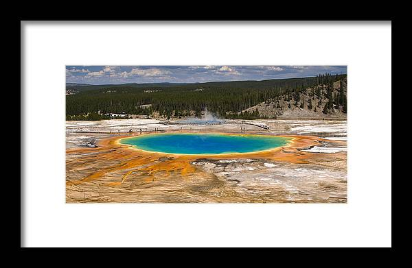 Grand Prismatic Spring Framed Print featuring the photograph Grand Prismatic Spring by Chad Davis