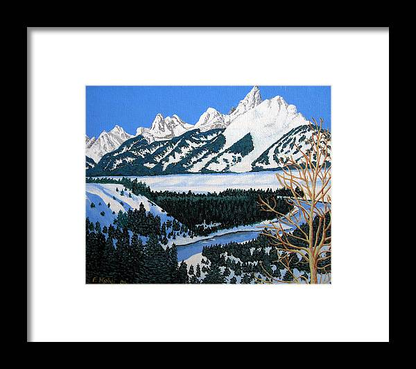 Landscape Art Framed Print featuring the painting Grand Teton by Frederic Kohli