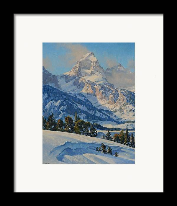 Landscape Framed Print featuring the painting Grand Teton by Lanny Grant
