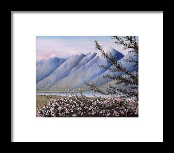 Grand Teton Mountains Framed Print featuring the painting Grand Teton Mountains by Allan Carey