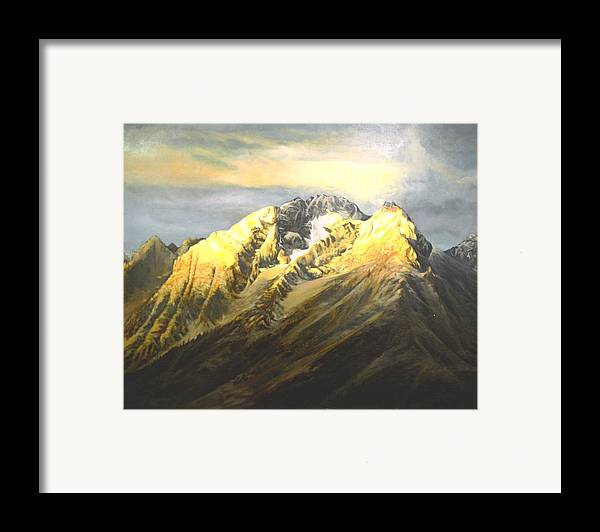 Landscape Framed Print featuring the painting Grand Tetons by Steve Greco