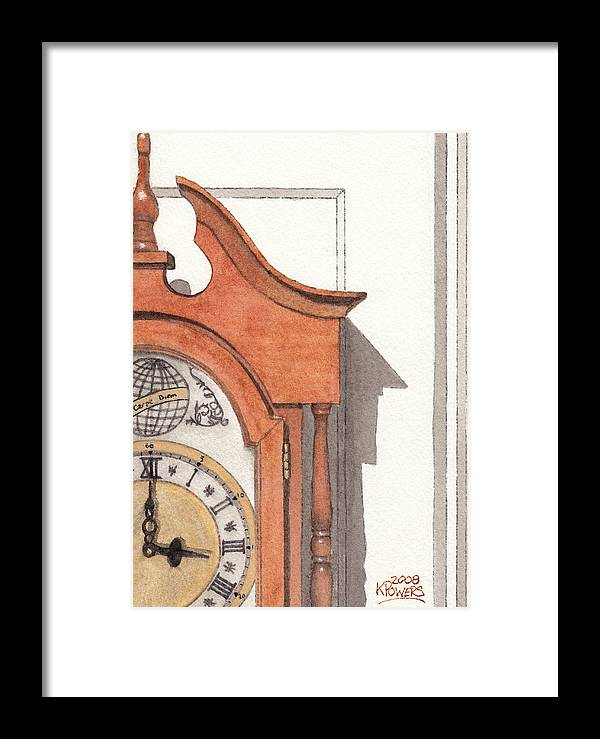 Watercolor Framed Print featuring the painting Grandfather Clock by Ken Powers