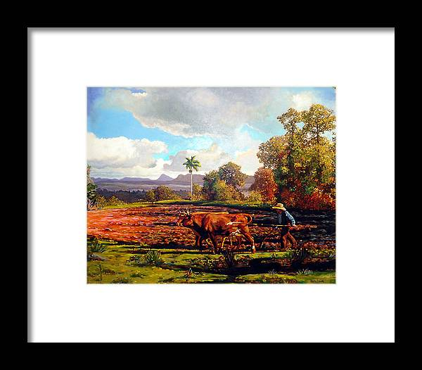 Cuban Art Framed Print featuring the painting Grandfather Farm by Jose Manuel Abraham